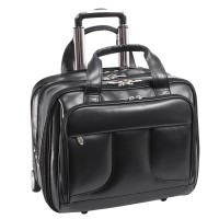 """Chelsea 15.6"""" Leather Wheeled Overnight Laptop Briefcase"""