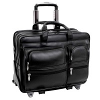 """Clinton 17"""" Leather Patented Detachable Wheeled Laptop Briefcase"""