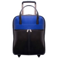 """Volo 15.6"""" Leather Laptop Overnighter Wheeled Carry-On"""