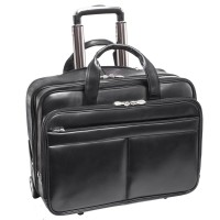 "Bowery 15.6"" Leather Wheeled Laptop Briefcase"