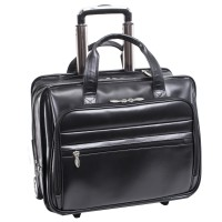 "Midtown 15.6"" Leather Wheeled Laptop Briefcase"