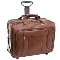 """West Town 15.6"""" Leather Fly-Through Checkpoint-Friendly Patented Detachable -Wheeled Laptop Briefcase"""