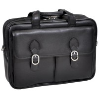 "Hyde Park 15.6"" Leather Double Compartment Laptop Case"