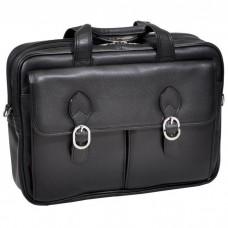 """Hyde Park 15.6"""" Leather Double Compartment Laptop Case"""