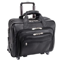 "Gold Coast 17"" Leather Detachable-Wheeled Laptop Case"