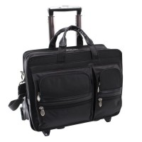 "Clinton 17"" Leather Detachable-Wheeled Laptop Case"