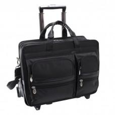 """Clinton 17"""" Leather Detachable-Wheeled Laptop Case"""