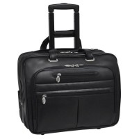 "Wrightwood 17"" Leather Wheeled Laptop Case"