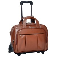 "Damen 17"" Leather Detachable-Wheeled Laptop Case"