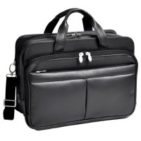 "Walton 17"" Leather Expandable Double Compartment Laptop Case W/ Removable Sleeve"