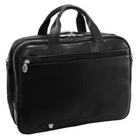"""Pearson 17"""" Leather Expandable Double Compartment Briefcase"""