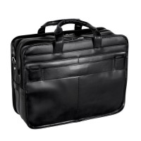 "Elston 15.6"" Leather Double Compartment Laptop Briefcase"