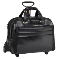 """Midway 17"""" Leather Fly-Through Checkpoint-Friendly Detachable Wheeled Laptop Case"""